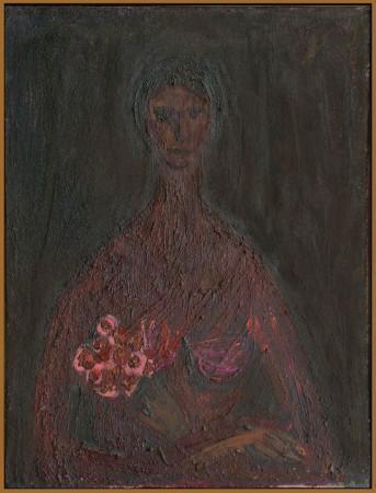 """Barbara Jonscher """"Dziewczyna"""", niedatowany, olej na płótnie, wymiary 60x45 cm, /obraz był prezentowany na indywidualnej wystawie Barbary Jonscher, Laureaci nagrody im. Jana Cybisa, w Muzeum Śląska Opolskiego  w Opolu, 2011"""