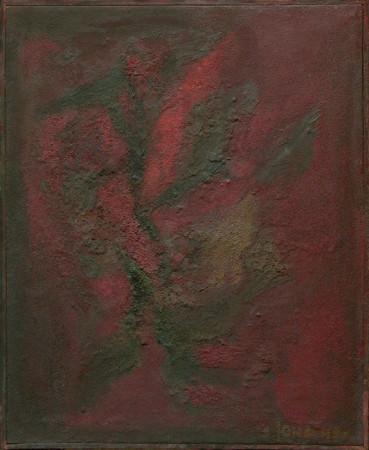 """Barbara Jonscher """"Kwiat czerwony II"""", 1963r. olej na płótnie, wymiary 80x65 cm"""