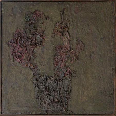 """Barbara Jonscher """"Kwiaty spalone II"""", ok. 1969, olej na płótnie, wymiary 48x48 cm,/ obraz był prezentowany na indywidualnej wystawie Barbary Jonscher, Laureaci nagrody im. Jana Cybisa, w Muzeum Śląska Opolskiego  w Opolu, 2011,    oraz jest reprodukowany w katalogu z tej wystawy"""