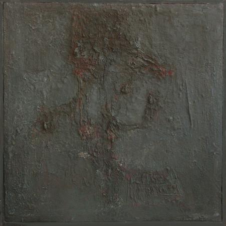 """Barbara Jonscher """"Kwiaty spalone"""", ok. 1969, olej na płótnie, wymiary 48x48 cm,/ obraz był prezentowany na indywidualnej wystawie Barbary Jonscher, Laureaci nagrody im. Jana Cybisa, w Muzeum Śląska Opolskiego  w Opolu, 2011"""
