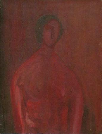 """Barbara Jonscher """"Pół akt"""", niedatowany, olej na płótnie, wymiaty 61x46 cm,/ obraz był prezentowany na indywidualnej wystawie Barbary Jonscher, Laureaci nagrody im. Jana Cybisa, w Muzeum Śląska Opolskiego  w Opolu, 2011, oraz jest reprodukowany w katalogu z tej wystawy"""