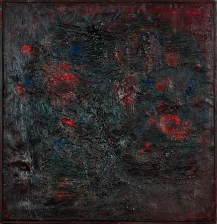 """Barbara Jonscher """"Bukiet II"""", ok. 1957, olej na płótnie, wymiary 48x48 cm, /obraz był prezentowany na indywidualnej wystawie Barbary Jonscher, Laureaci nagrody im. Jana Cybisa, w Muzeum Śląska Opolskiego  w Opolu, 2011"""
