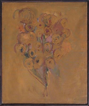 """Barbara Jonscher """"Bez tytułu, (bukiet ugrowy)"""", niedatowany, olej na płótnie, wymariary 55x46 cm"""