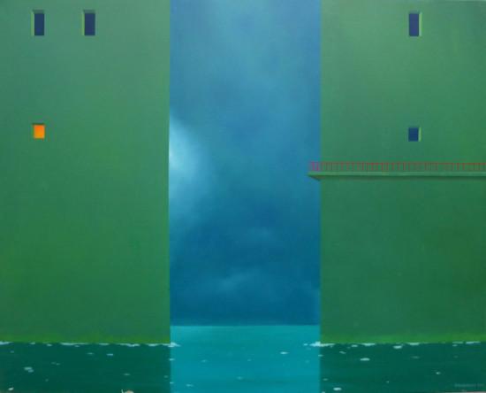 """Roman Maciuszkiewicz """"Przystań XXII"""", 2014, olej na płótnie, wymiary 80x110 cm"""
