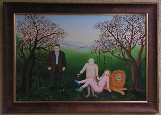 """Magdalena Shummer-Fangor, """"Odpoczynek, / z Wojciechem Mannem /"""",  2014, olej na płycie, wymiary 47x70 cm, z ramą 57x80 cm"""
