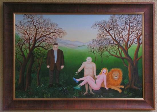 """Magdalena Shummer-Fangor, """"Odpoczynek"""","""",  2014, olej na płycie, wymiary 47x70 cm, z ramą 57x80 cm"""