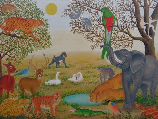 """Magdalena Shummer, """"Pod zieloną papugą"""", 2017, olej na płycie, wymiary 40x55 cm, / wszystkie obrazy są oprawione w autorskie ramy"""