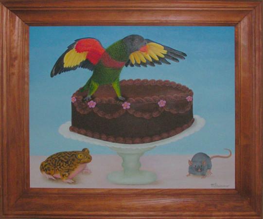 """Magdalena Shummer, """"Papuga na czekoladowym torcie"""",   2017, olej na płycie, wymiary 40x50 cm"""