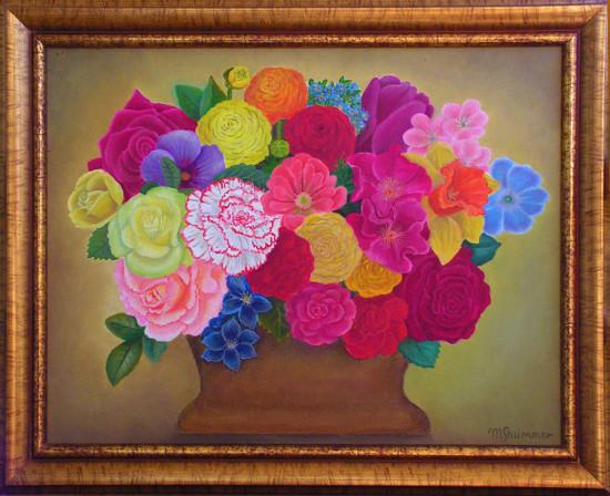"""Magdalena Shummer-Fangor, """"Kwiaty """", 2011, olej na płótnie, wymiary 35,5,5x45,7 cm, z ramą 42,5x52,3 cm,"""
