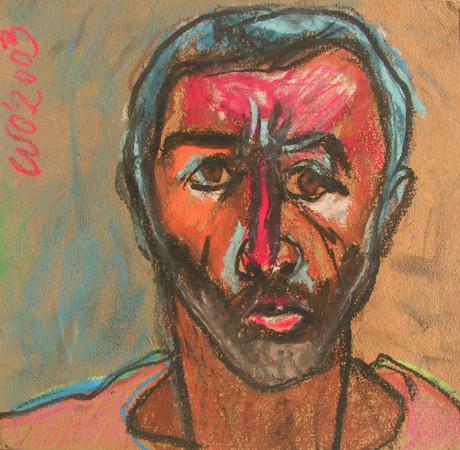 """Wiesław Obrzydowski, """"Autoportret"""", 2003, pastele olejne, na tekturze, wymiary 31,5×31,8 cm, /100"""