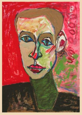 """Wiesław Obrzydowski, """"Kobieta na czerwonym tle"""", 2006, akryl na papierze, wymiary 90×64 cm, /102"""