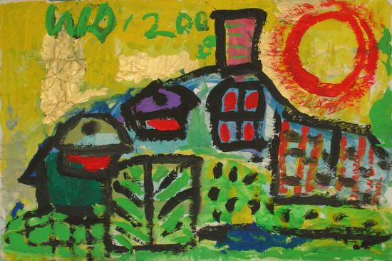 """Wiesław Obrzydowski, """"W słońcu"""", 2008, akryl na papierze, wymiary 42,5×64 cm, /109"""