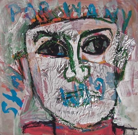 """Wiesław Obrzydowski, """"Porwany syn"""", 1999, akryl, kolaż na tekturze, wymiary 25×25,5 cm, /111`"""