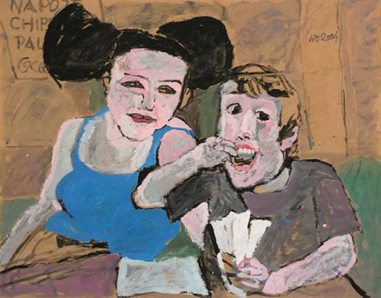 """Wiesław Obrzydowski """"Dzieci Artysty"""" 2004r. akryl na papierze wym.: 110x125cm, /123"""