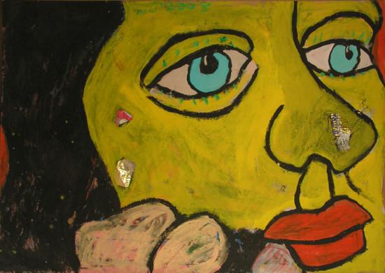 """Wiesław Obrzydowski, """"Miłka, córka artysty"""", 2009, akryl, kolaż na kartonie, wymiary 70,5×100 cm, /18"""