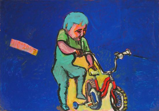 """Wiesław Obrzydowski, """"Dobruś, syn artysty"""", 1995, akryl na płycie, wymiary 72×102,5 cm, /19, obraz dwustronny, druga strona 19a, /  SPRZEDANE"""