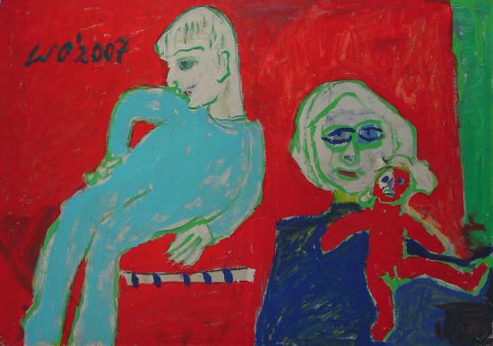 """Wiesław Obrzydowski, """"Dzieci arysty"""", 1995, akryl na płycie, wymiary 72×102,5 cm, 19a, obraz dwustronny, druga strona 19, /  SPRZEDANE"""