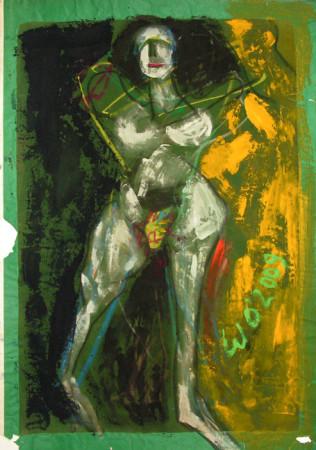 """Wiesław Obrzydowski, """"Akt w ruchu I"""", 2009, akryl na aksamitnym papierze, wymiary 85×60,5 cm, /2"""