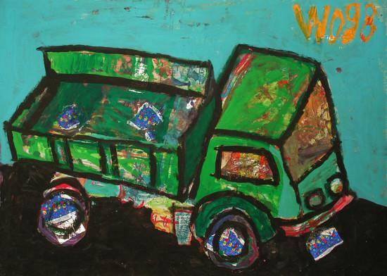 """Wiesław Obrzydowski, """"Ciężarówka"""", 1998, akryl, kolaż na kartonie, wymiary 69,5×99,5 cm, obraz dwustronny, /21"""