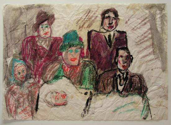 """Wiesław Obrzydowski, """"Rodzina artysty"""", 2006, pastele olejne, tempera na preparowanym papierze z pomięciami, wymiary 34,8×49 cm, /40"""
