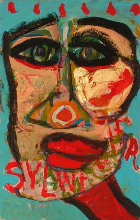 """Wiesław Obrzydowski, """"Porwany Sylwester"""", 1999, akryl na tekturze, wymiary 39,7×24,8 cm, /54, /  SPRZEDANE"""
