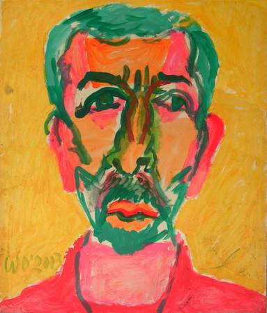 """Wiesław Obrzydowski, """"Autoportret"""", 2003, akryl, na papierze, wymiary 85,2×72 cm, /57"""