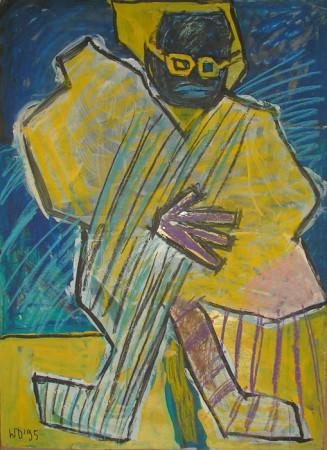 """Wiesław Obrzydowski, """"Zółte okulary"""", 1995, akryl tekturze, wymiary 100×71,5 cm, obraz dwustronny, /6"""