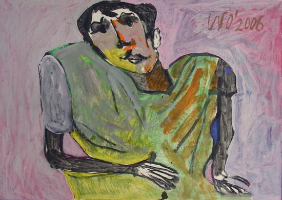 """Wiesław Obrzydowski, """"Dobromił, syn artysty"""", 2006, akryl, na papierze, wymiary 64×90 cm, /73"""