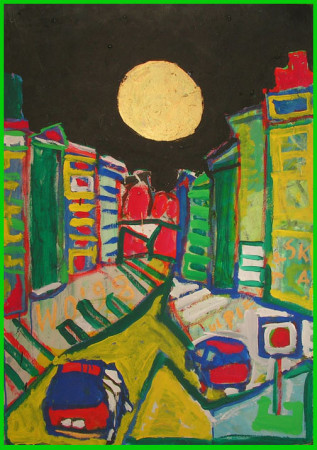 """Wiesław Obrzydowski, """"Widok z okna, ulica Piekarska, noc"""", 1998, akryl na płycie, wymiary 102,5×71,5 cm, obraz dwustronny, /8"""