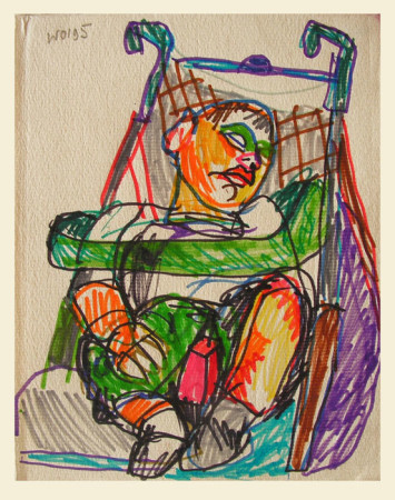 """Wiesław Obrzydowski, """"Dobruś, syn artysty, 1995, flamastry na papierze, wymiary 20×16 cm, 89"""