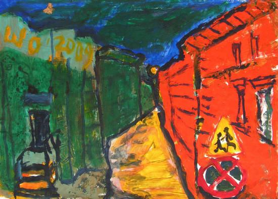 """Wiesław Obrzydowski, """"Kraków, noc"""", 2009, akryl na papierze, wymiary 29,5×41,7 cm, /99"""