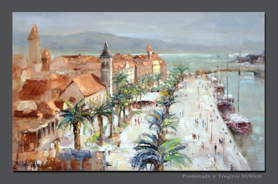 """2 Kornel Wilczek """"Promenada w Trogirze"""", olej na płótnie, wymiary 60x80 cm"""