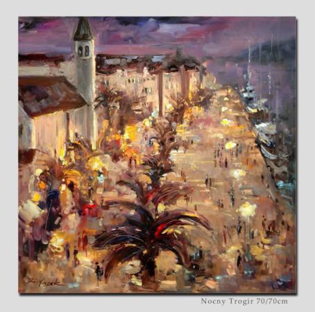 """3 Kornel Wilczek """"Nocny Trogir"""", olej na płótnie, wymiary 70x70 cm"""
