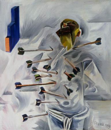 """2 Jacek Sroka, """"Ćwiczenie martyrologiczne"""", 1993, olej na płótnie, 105×95 cm"""