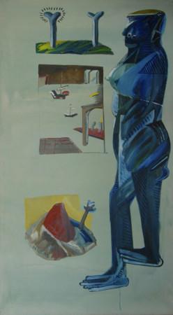 """Jacek Sroka, """"Wyspy"""", 1992, olej na płótnie, 180×100 cm"""