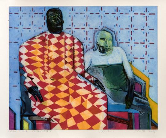 "Jacek Sroka,  ""Nantong Strangers"", 2016, akwaforta z akwatintą, wymiary 49 cm x 59 cm"