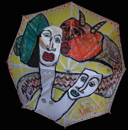 """Wiesław Obrzydowski WO' """"Adam i Ewa"""" 1992, akryl na tkaninie, parasol, wymiary, 120×120 cm, / N"""