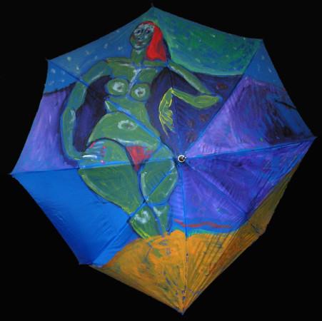 """Wiesław Obrzydowski """"Ewa"""" 1992r. akryl na tkaninie, parasol wymiary 120x120 cm, /113, / N"""