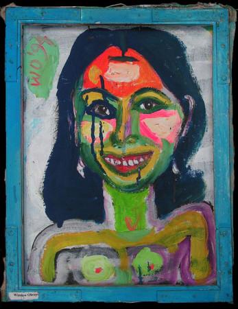"""Wiesław Obrzydowski, """"Portret uśmiechniętej dziewczyny"""", 1994, akryl na płótnie, wymiary 40x29,7 cm, / KOLEKCJA GALERII"""