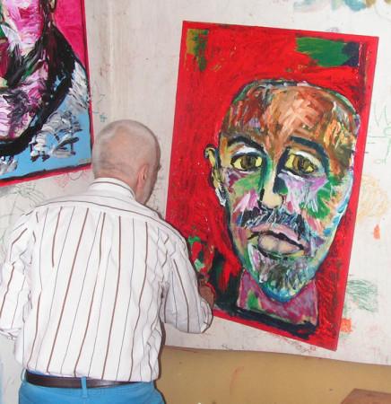 """Wiesław Obrzydowski, """"Autoportret z jednym uchem w hołdzie dla Vincenta van Gogha"""" , dokumentacja tworzenia obrazu, / NIEDOSTĘPNY"""