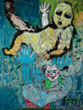 """Wiesław Obrzydowski """"Treets, Tróca Święta - Autoportret z rodziną,"""" 1990, akryl na tkaninie, wymiary 330x266 cm"""
