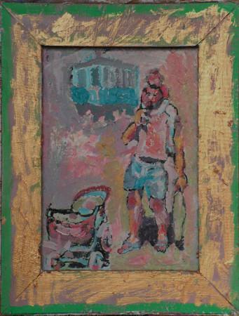 """Wiesław Obrzydowski """"Autoportret z synkiem"""" 1999, akryl na ołótnie, wymiary 35x27,2 cm, obraz dwustronny, druga strona, """"Pejzaż z żółtą rzeką"""" 1999, akryl na płótnie, / KOLEKCJA GALERII"""