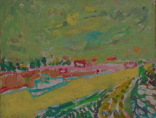 """Wiesław Obrzydowski """", """"Pejzaż z żółtą rzeką"""" 1999, akryl na płótnie, wymiary 27,2x35 cm, obraz dwustronny, druga strona, """"Autoportret z synkiem"""" 1999, akryl na płótnie, wymiary 35x27,2 cm, / KOLEKCJA GALERII"""