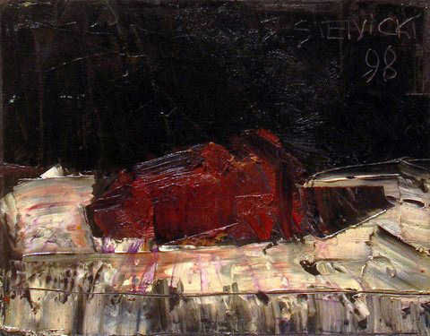 """Jacek Sienicki, """"Mięso"""", 1998, olej na płótnie, wymiary 33x41 cm, obraz jest w ramie., / obraz jest reprodukowany w katalogu, """"Jacek Sienicki, Obrazy i prace na papierze"""", Warszawa, Galeria Atak, 2008"""