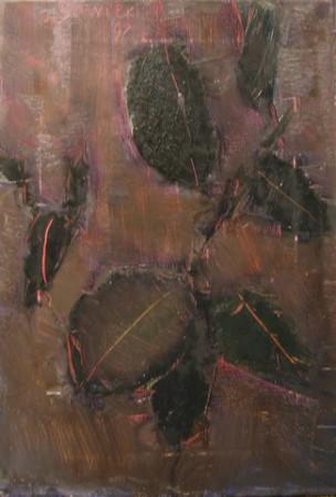 """Jacek Sienicki, """"Fikus"""", 1998, olej na płótnie, wymiary 55x38 cm, obraz jest w ramie"""