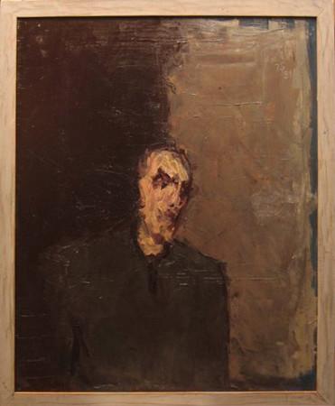"""Jacek Sienicki, """"Portret, Autoportret"""", 1991, olej na płótnie, wymiary 100x80 cm"""