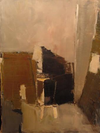 """Jacek Sienicki, """"Wnętrze pracowni"""", koniec lat 80-tych, olej na płótnie, wymiary 146x110 cm"""