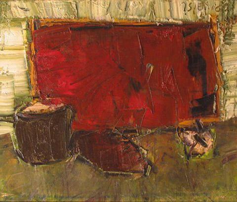 """Jacek Sienicki, """"Martwa natura"""", 1998, olej na płótnie, wymiary 38x46 cm, obraz jest w ramie"""