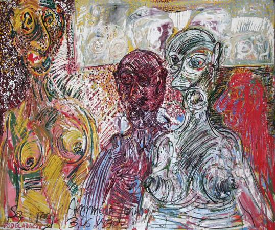 """Janusz Akermann """"Są i tacy, Podglądacze"""", 1990, olej na płótnie, wymiary 100x120 cm"""