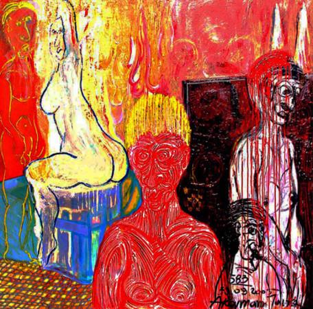 """Janusz Akermenn, """"Modelka"""", 2005, olej na płótnie, wymiary 150×150 cm"""